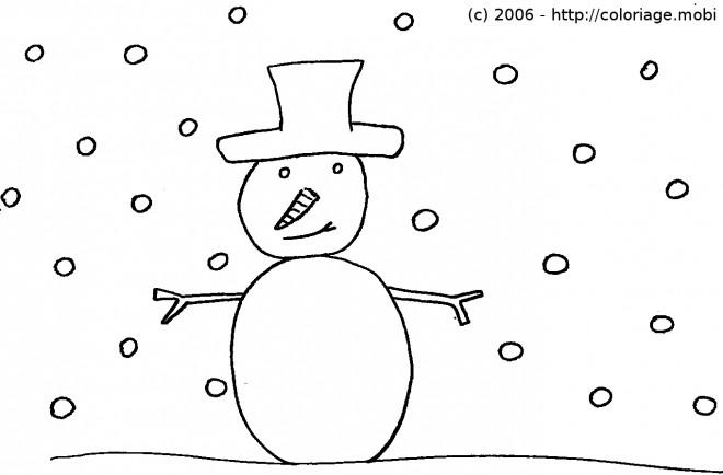 Coloriage et dessins gratuits Bonhomme de Neige hivernale à imprimer