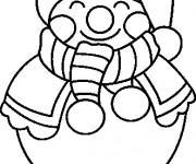 Coloriage et dessins gratuit Bonhomme de Neige qui sourit à imprimer
