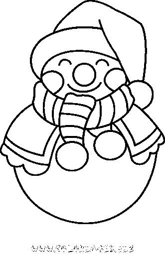 Coloriage et dessins gratuits Bonhomme de Neige qui sourit à imprimer