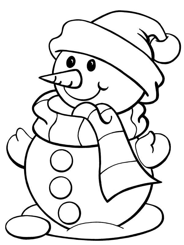 Coloriage et dessins gratuits Bonhomme de Neige tout en souriant à imprimer
