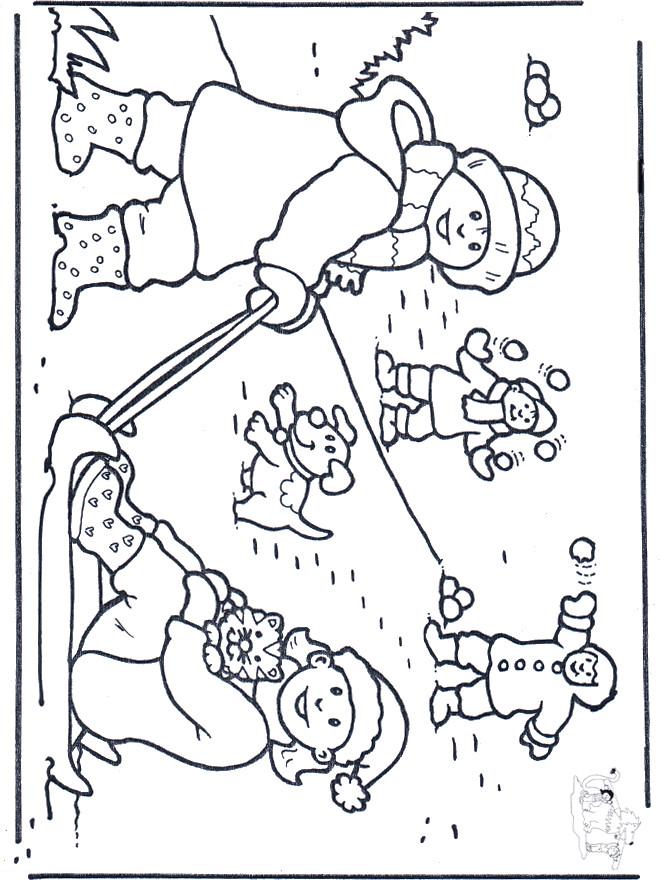 Coloriage et dessins gratuits Enfants jouent avec la Neige à imprimer
