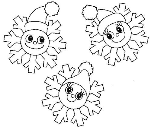 Coloriage et dessins gratuits Flocon de Neige en têtes à imprimer