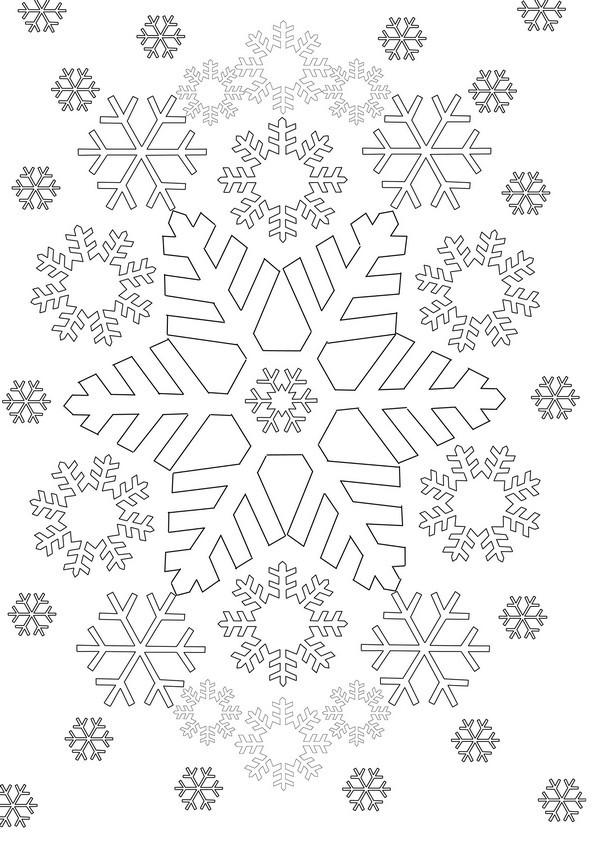 Coloriage et dessins gratuits Flocon de Neige par tout à imprimer