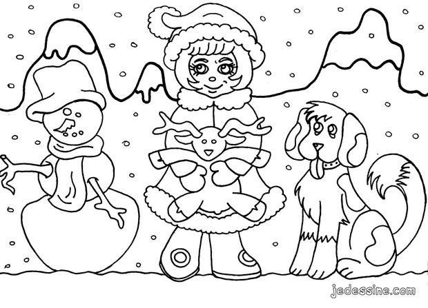 Coloriage et dessins gratuits Neige Paysage à imprimer