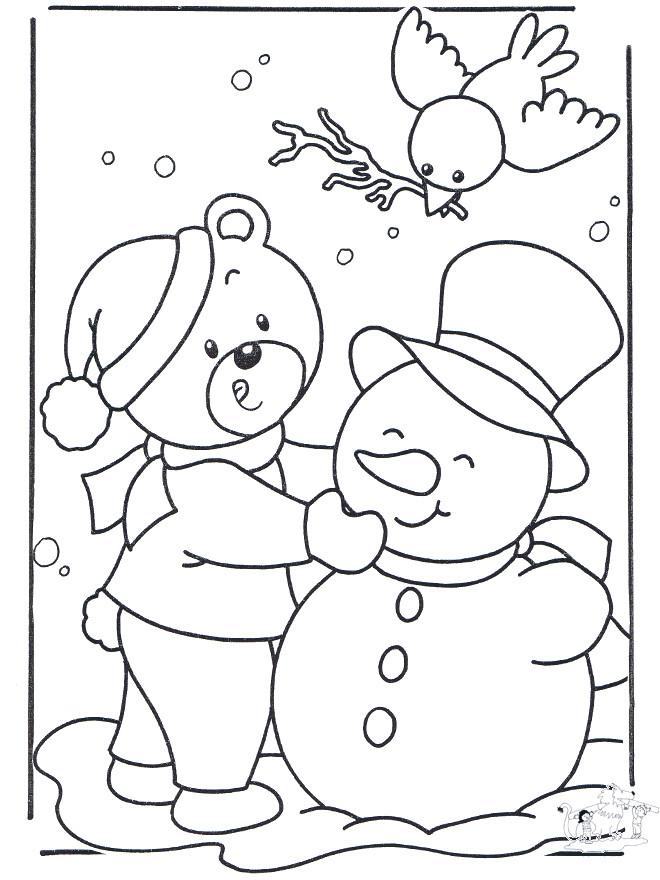 Coloriage et dessins gratuits Ours et l'homme de Neige à imprimer