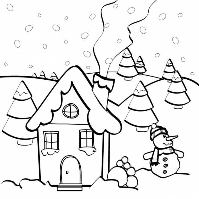 Coloriage Village sous neige dessin gratuit à imprimer