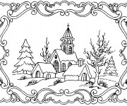 Coloriage Paysage Neige