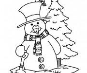 Coloriage Bonhomme de Neige de Noël stylisé