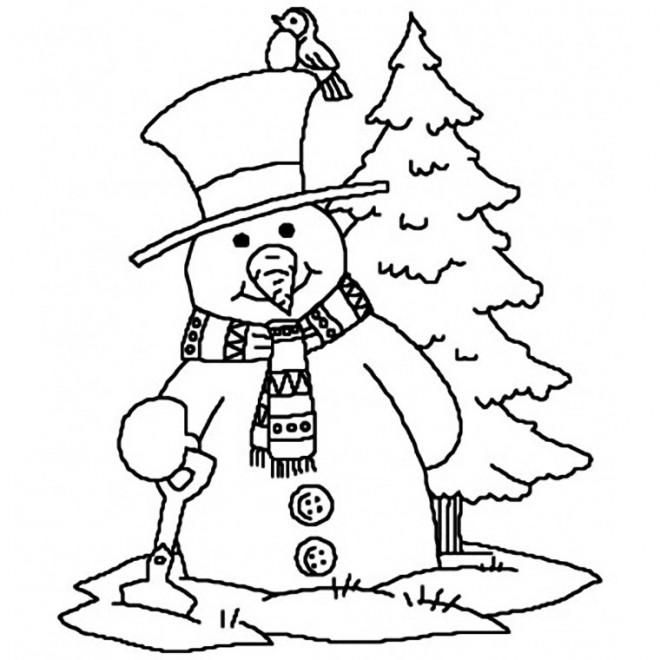 Coloriage et dessins gratuits Bonhomme de Neige de Noël stylisé à imprimer