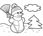 Coloriage et dessins gratuit Bonhomme de Neige en noir et blanc simple à imprimer