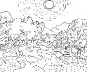 Coloriage et dessins gratuit Champs et les arbres à imprimer