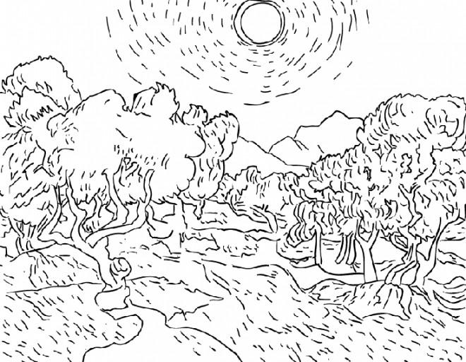 Coloriage et dessins gratuits Champs et les arbres à imprimer