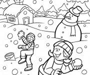 Coloriage et dessins gratuit Hiver enneigé à imprimer