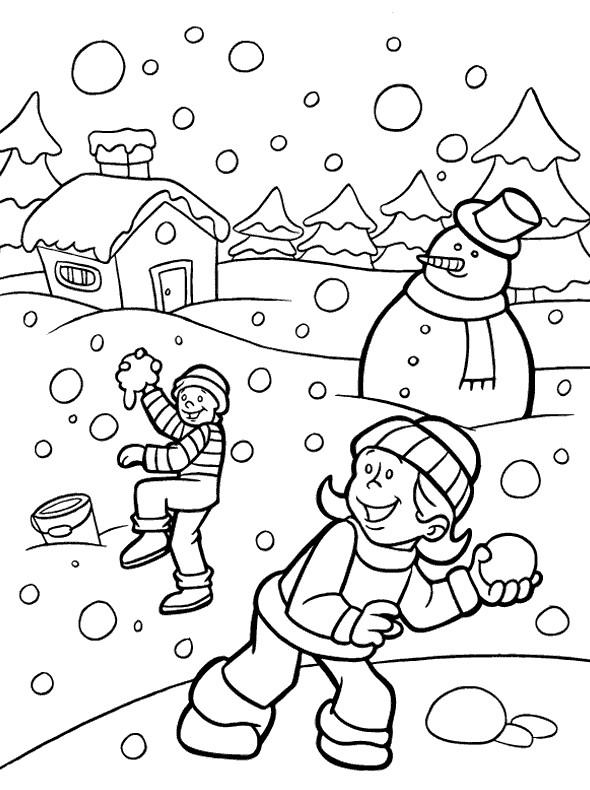 Coloriage et dessins gratuits Hiver enneigé à imprimer