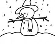 Coloriage et dessins gratuit Homme de Neige en hiver à imprimer