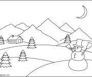 Coloriage Montagne et l'homme de neige