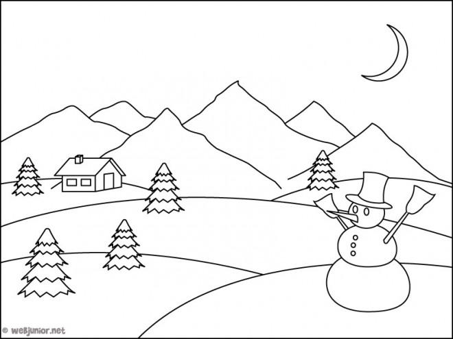 Coloriage Montagne Et L Homme De Neige Dessin Gratuit A Imprimer