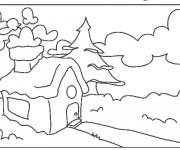 Coloriage Paysage d'une petite maison dans la forêt