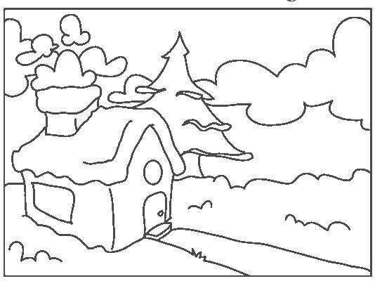 Coloriage et dessins gratuits Paysage d'une petite maison dans la forêt à imprimer