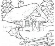 Coloriage et dessins gratuit Paysage de chalet en hiver à imprimer