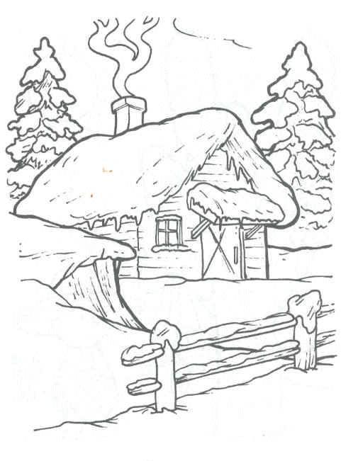 Coloriage et dessins gratuits Paysage de chalet en hiver à imprimer