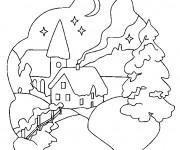 Coloriage et dessins gratuit Paysage de neige la nuit à imprimer