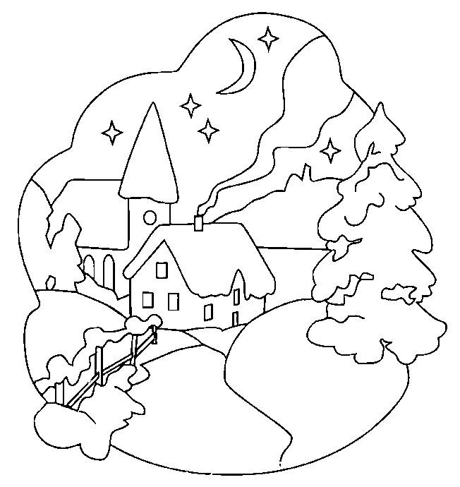 Coloriage et dessins gratuits Paysage de neige la nuit à imprimer