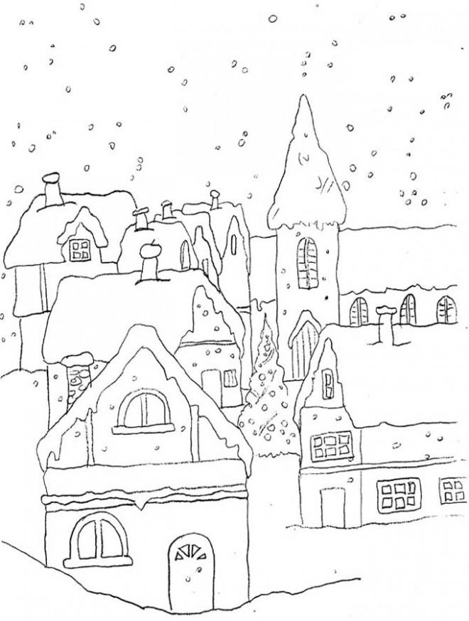 Coloriage et dessins gratuits Paysage Neige 11 à imprimer