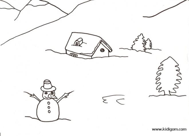 Coloriage et dessins gratuits Paysage Neige 28 à imprimer