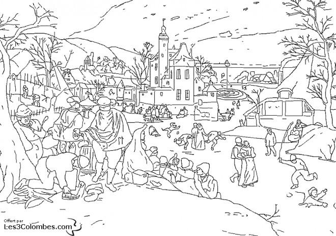 Coloriage Paysage Neige 30 dessin gratuit à imprimer