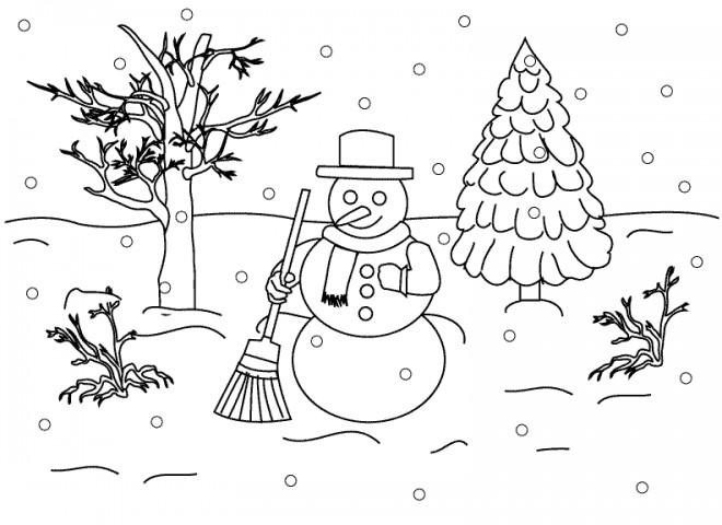 Coloriage et dessins gratuits Paysage Neige 31 à imprimer