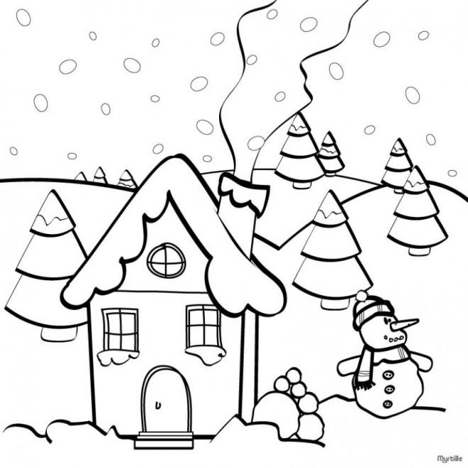 Coloriage et dessins gratuits Paysage Neige 36 à imprimer