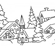 Coloriage Paysage Neige 4