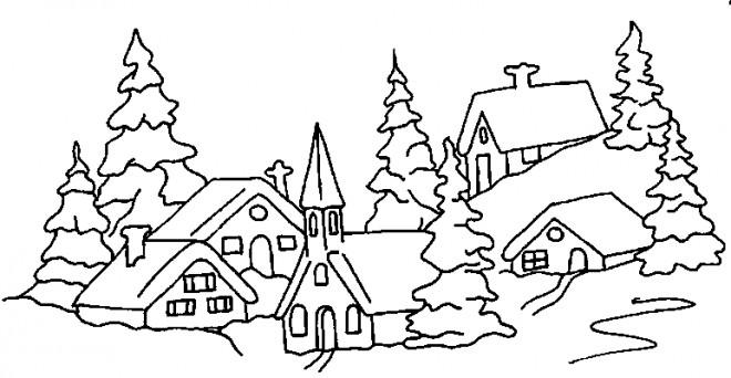 Coloriage paysage neige 4 dessin gratuit imprimer - Paysage enneige dessin ...