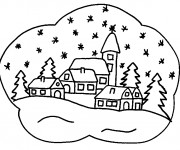 Coloriage Paysage Neige 6