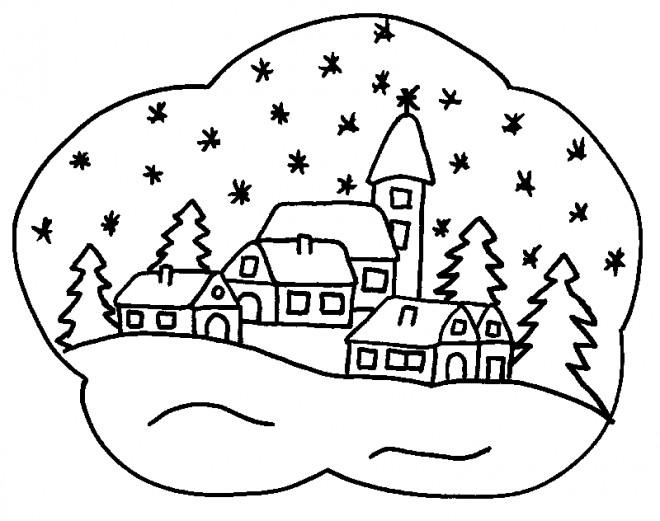 Coloriage et dessins gratuits Paysage Neige 6 à imprimer