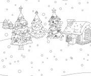 Coloriage et dessins gratuit Paysage Neige 9 à imprimer