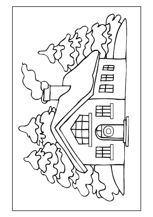 Coloriage et dessins gratuits Une maison au coeur de la forêt à imprimer