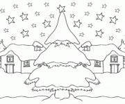 Coloriage Une village en neige