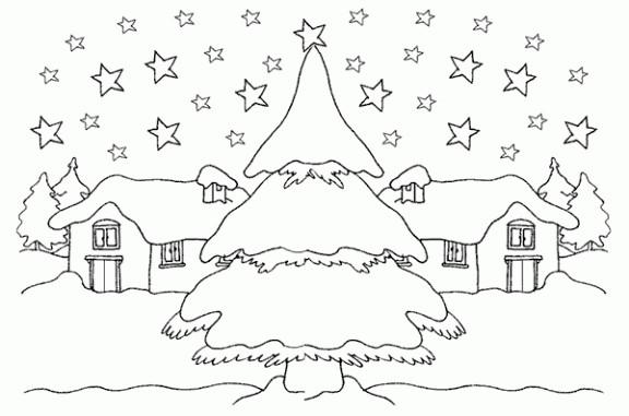 Coloriage et dessins gratuits Une village en neige à imprimer