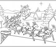 Coloriage et dessins gratuit Atterrissage du Père Noël à imprimer