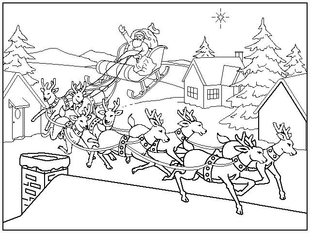 Coloriage et dessins gratuits Atterrissage du Père Noël à imprimer