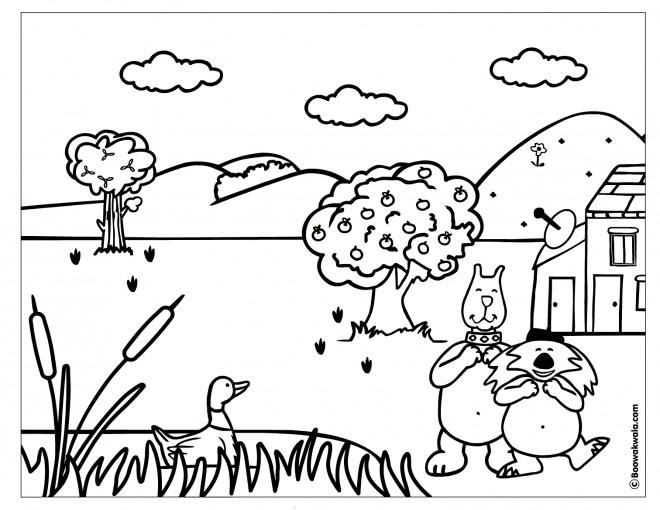 Coloriage et dessins gratuits Campagne et Animaux dessin animé à imprimer