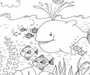 Coloriage Fond Marin et poissons qui s'amusent