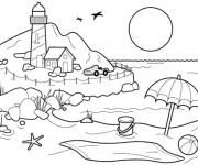 Coloriage et dessins gratuit La Plage en été à imprimer