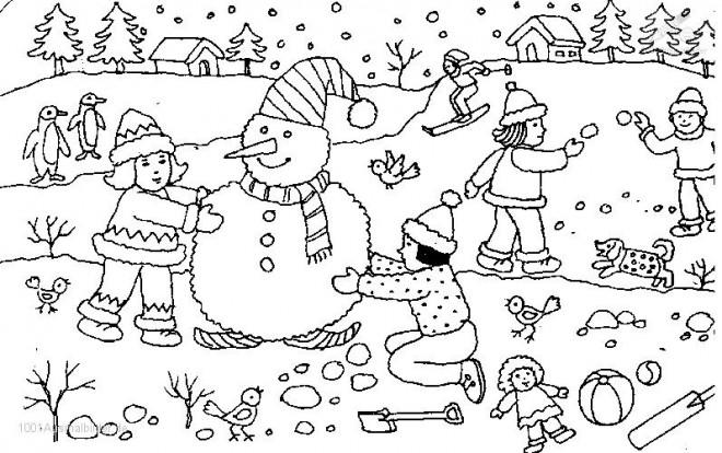 Coloriage et dessins gratuits Les enfants jouant avec la neige à imprimer