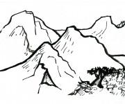 Coloriage Montagne au crayon