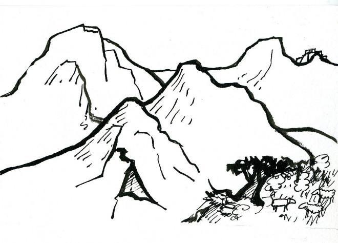 Coloriage et dessins gratuits Montagne au crayon à imprimer