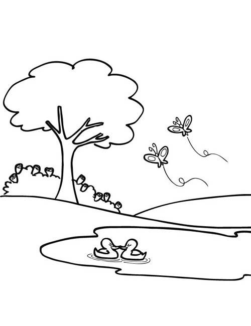 Coloriage papillons en vol dans le parc dessin gratuit - Dessin a colorier paysage ...