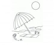 Coloriage Parasole sur la plage